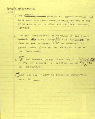 Manuscript Notes on the Latin American Popular Theatre Festival