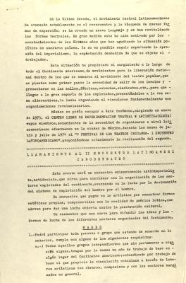 Llamamiento Al II Encuentro Latinoamericano De Teatro / Appeal to the II Latin American Theater Encounter