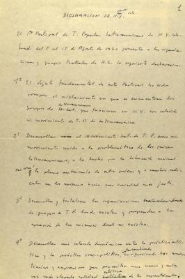 Manuscript Notes of Declaracion de N.Y.