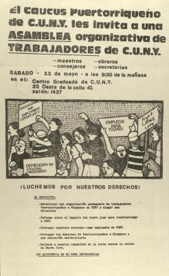 El Caucus Puertorriqueño de C.U.N.Y. les invita a una Asamblea organizativa de Trabajadores de C.U.N.Y. / The C.U.N.Y. Puerto Rican Caucus invites you to an organizational C.U.N.Y. Workers' Assembly