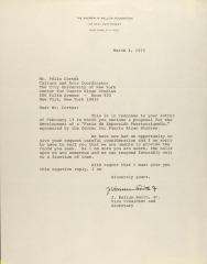 Correspondence from the Andrew W. Mellon Foundation