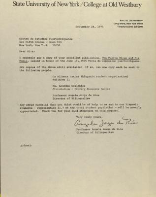 Correspondence from SUNY Old Westbury