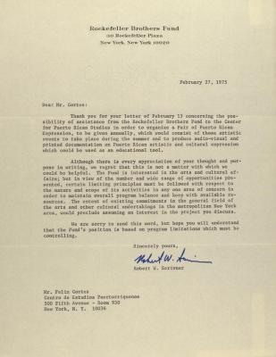 Correspondence from the Rockefeller Brothers Fund