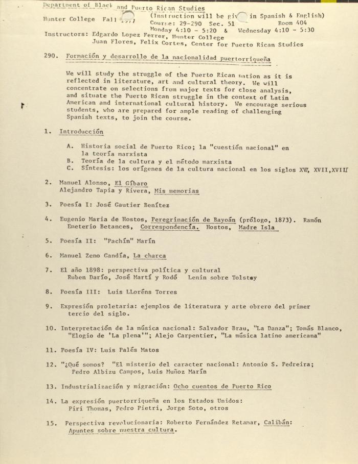 Formación y Desarrollo de la Nacionalidad Puertorriqueña / Training and Development of the Puerto Rican Nationality
