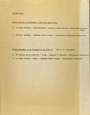 Lexington Avenue Music Workshop Notes on Music Groups' Performance Dates