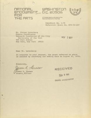 Correspondence from the National Endowment for the Arts