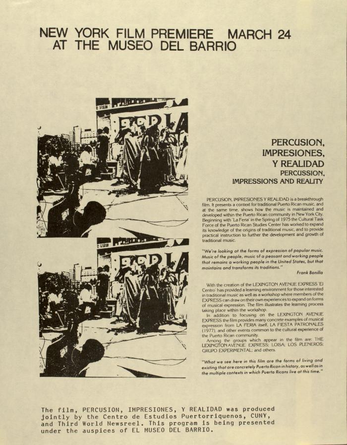 New York Film Premiere - March 24 - At The Museo Del Barrio