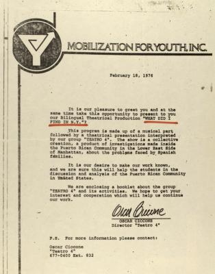Correspondence from Mobilization for Youth, Inc.