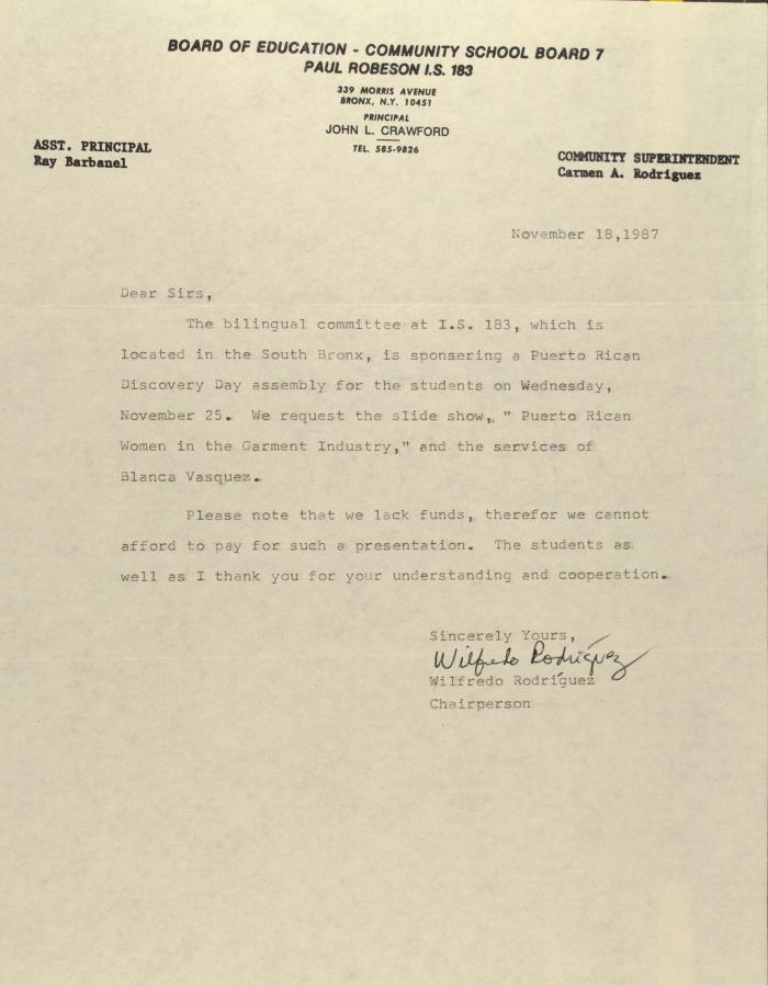 Correspondence from the Community School Board 7/Paul Robeson I.S. 183