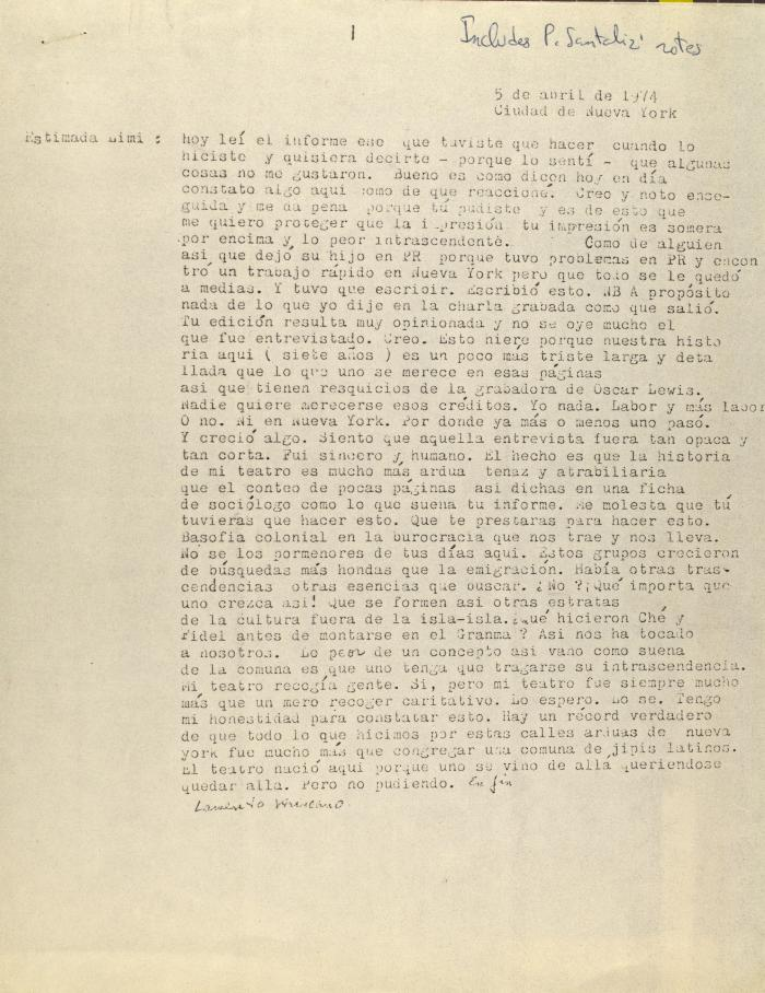 Correspondence from El Nuevo Teatro Pobre de América