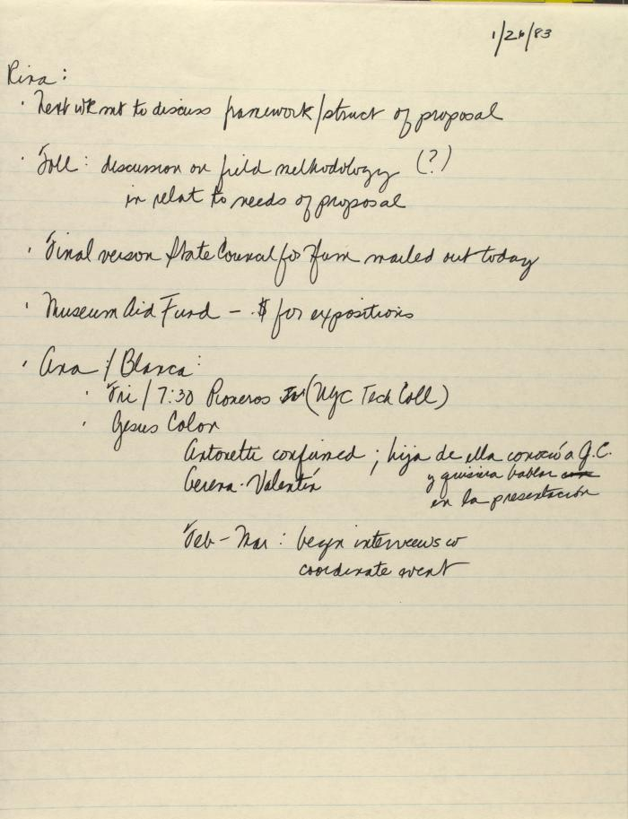 Manuscript Notes of the Center for Puerto Rican Studies