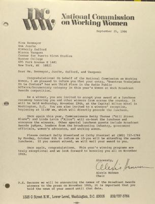 Correspondence from National Commission on Working Women