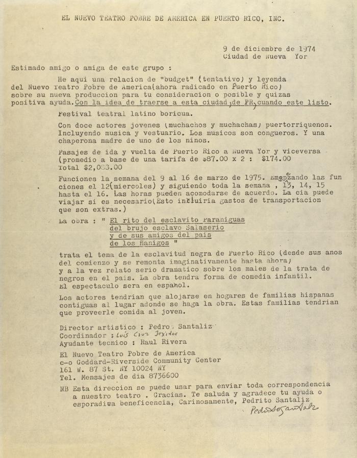 Correspondence from El Nuevo Teatro Pobre de América en Puerto Rico, Inc.