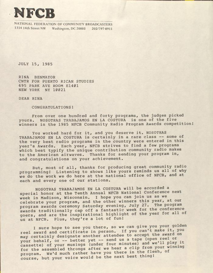 Correspondence from the National Federation of Community Broadcasters