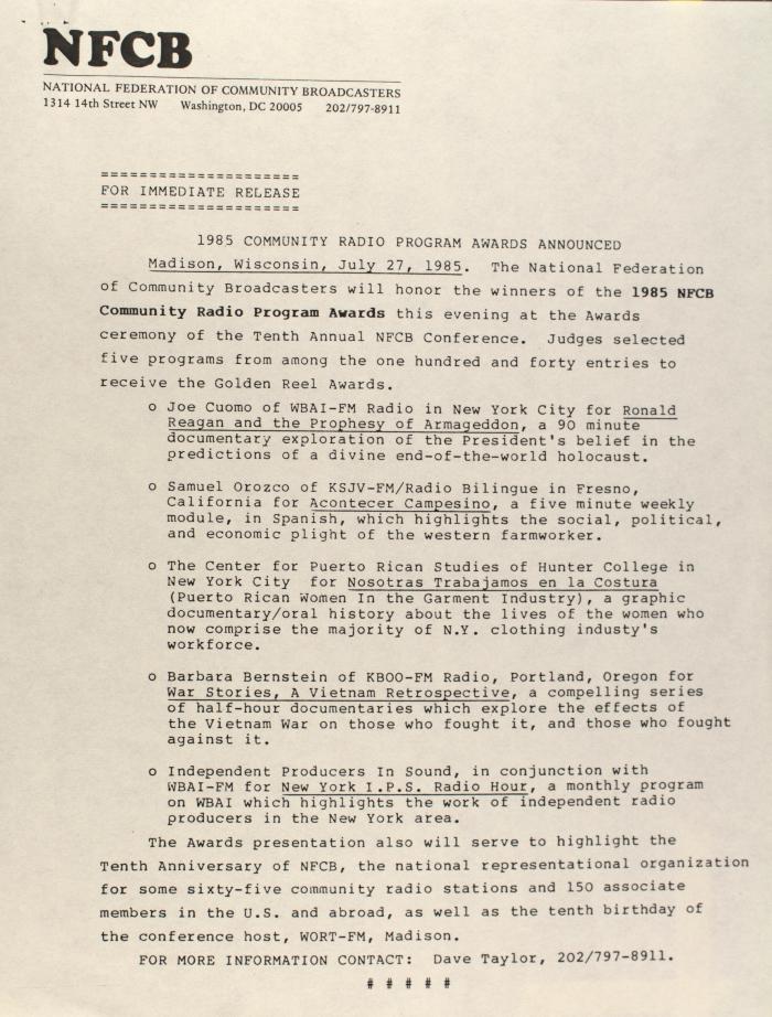 1985 Community Radio Program Awards Announced