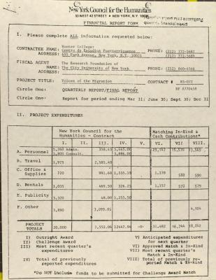 New York Council for the Humanities - Financial Report Form