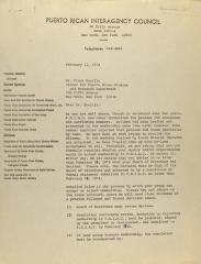 Correspondence from Puerto Rican Interagency Council
