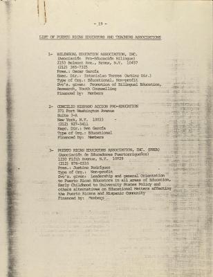 List of Puerto Rican Educators and Teachers Associations, Puerto Rican Studies Programs