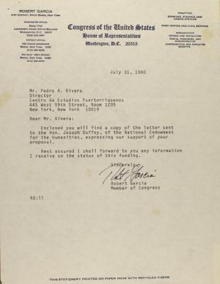 Correspondence from Robert Garcia