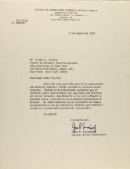 Correspondence from the Office of Former Governor Roberto Sanchez Vilella