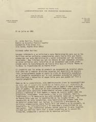 Correspondence from el Gobierno de Puerto Rico - Administracion de Fomento Economico
