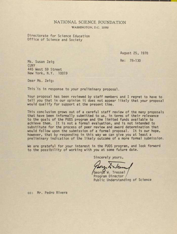 Correspondence from the National Science Foundation