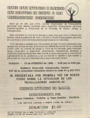 Usted Esta Invitado A Una Activida En Apoyo  a Los Trabajadores Agricolas / You Are Invited to Attend an Activity in Support of Farmworkers