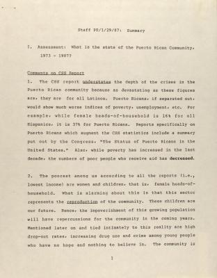 Staff PE/1/29/87: Summary
