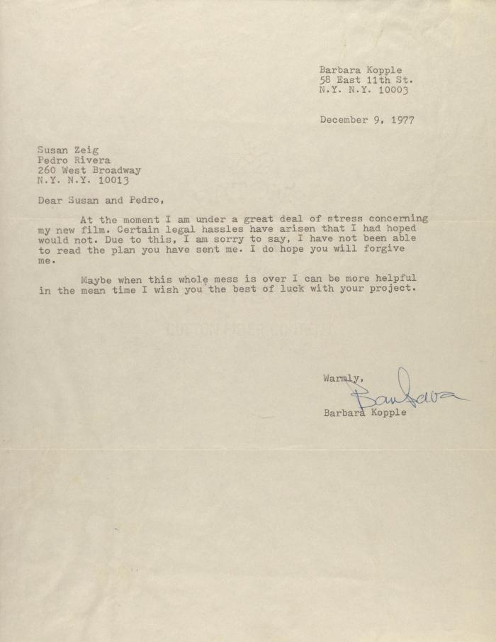 Correspondence from Barbara Kopple