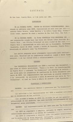 Contract Between the Center for Puerto Rican Studies and Guastella Film Producers