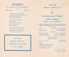 Amigos de Arteaga Society, Inc. program for the academy's commencement recital