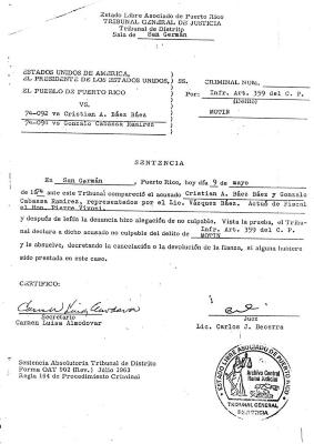 U.S. Court document of the denouncing of Gonzalo Cabassa Ramírez's U.S. Citizenship