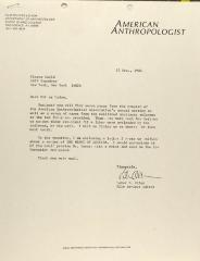 Correspondence from American Anthropologist