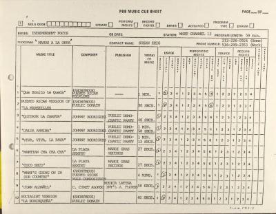 "PBS Music Cue Sheet for ""Manos a La Obra"""