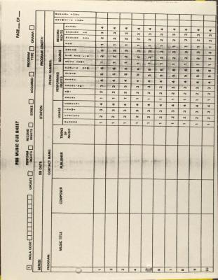 PBS Music Cue Sheet