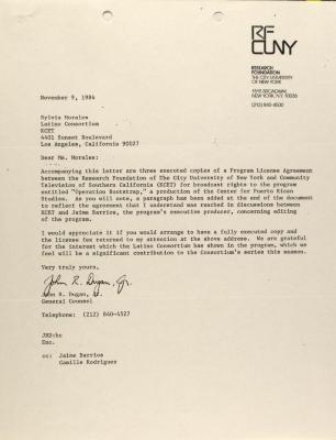 Correspondence from the Research Foundation of the City University of New York
