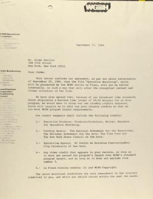 Correspondence from WGBH Educational Foundation