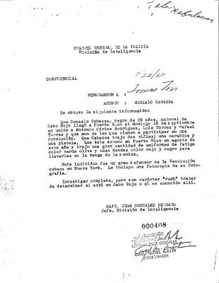 Confidencial memorandum from Capt. Juan Gonzalez Delgado to Tomas Toro