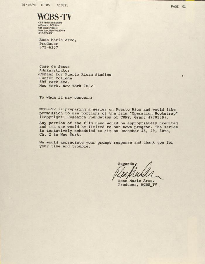 Correspondence from WCBS-TV
