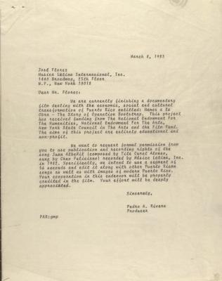 Correspondence from Pedro Rivera