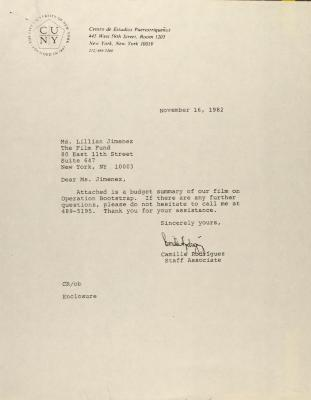 Correspondence to Lillian Jiménez of the Film Fund from the Center for Puerto Rican Studies