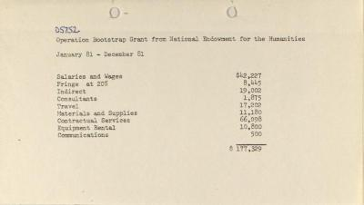 Operation Bootstrap Grant from National Endowment for the Humanities