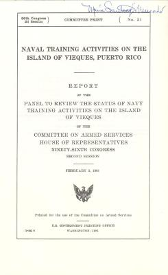 Congressional Report on Naval Training in Vieques, Puerto Rico
