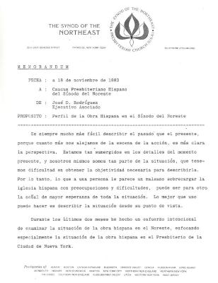 Memorandum, Perfil de la Obra Hispana en el Sínodo del Noreste