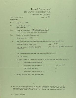 Memorandum from the Research Foundation of the City University of New York