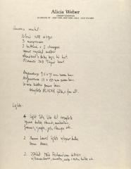 Manuscript Notes of Alicia Weber