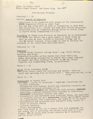 Memorandum from Pedro Rivera and Susan Zeig