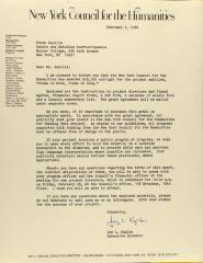 Correspondence from the New York Council for the Humanities