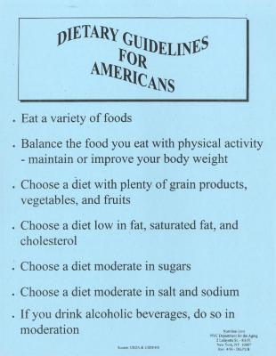 Dietary Guidelines for Americans fact sheet