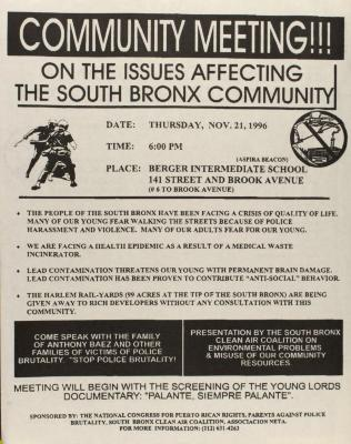Reunión de la Comunidad En Asuntos Que Afectan La Comunidad Del Sur Del Bronx / Community Meeting!!! On the Issues Affecting the South Bronx Community